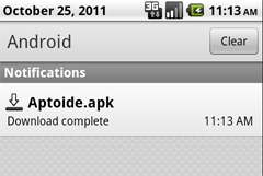Aptoide Download Complete